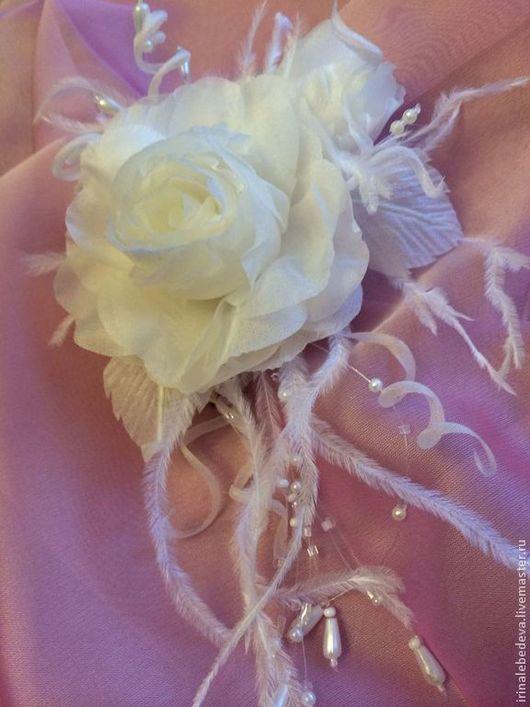 Заколки ручной работы. Ярмарка Мастеров - ручная работа. Купить Цветы из шелка. Заколка роза. Handmade. Цветы, невеста