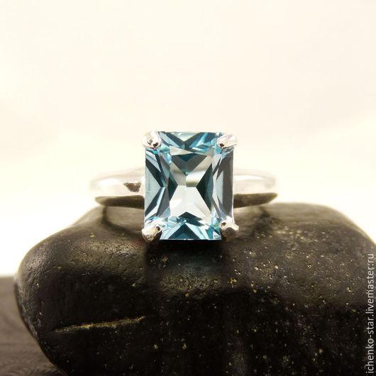 Кольца ручной работы. Ярмарка Мастеров - ручная работа. Купить Кольцо серебро небесно-голубой топаз 10х8 мм. Handmade.