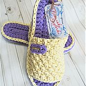Обувь ручной работы handmade. Livemaster - original item Slippers knitted on a rubber sole 38p. Handmade.