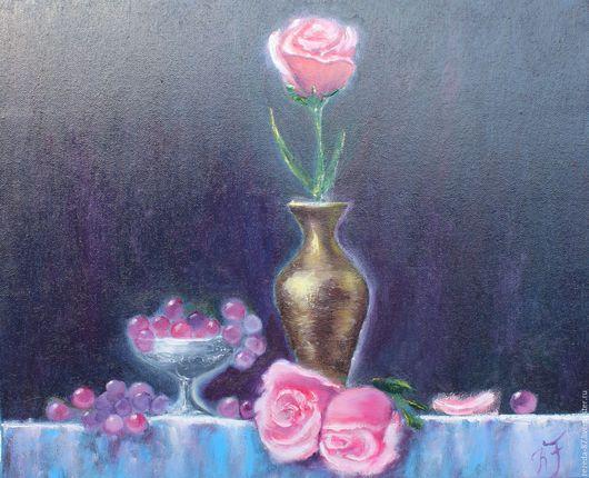 Натюрморт ручной работы. Ярмарка Мастеров - ручная работа. Купить Картина маслом натюрморт с розами и виноградом. Handmade. Комбинированный, розы