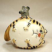 handmade. Livemaster - original item Porcelain cat-and-mouse (my new handiwork). Handmade.