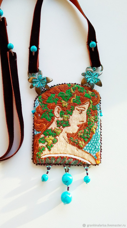 Ivy pendant based on the works of Alphonse Mucha author's handwork, Pendant, Ekaterinburg,  Фото №1