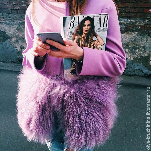 Верхняя одежда ручной работы. Ярмарка Мастеров - ручная работа. Купить Пальто с мехом ламы. Handmade. Фуксия, пальто с мехом