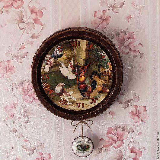 """Часы для дома ручной работы. Ярмарка Мастеров - ручная работа. Купить Часы настенные кантри  """" Птичий двор"""". Handmade."""