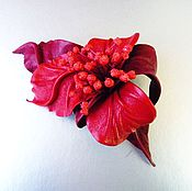 Украшения handmade. Livemaster - original item Flamenco leather flower brooch red scarlet with stamens. Handmade.