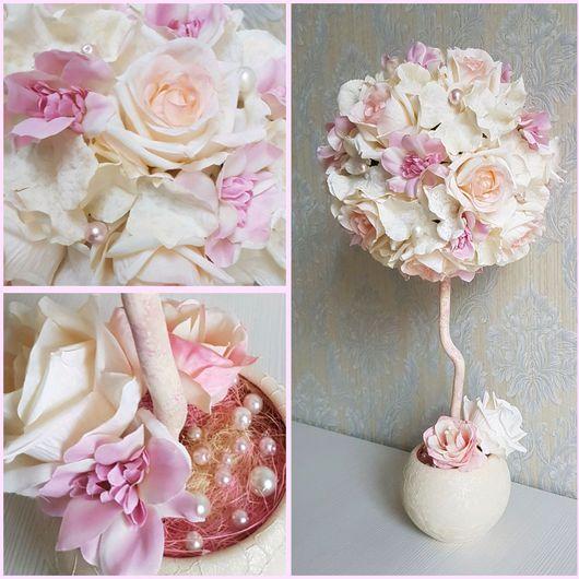 """Топиарии ручной работы. Ярмарка Мастеров - ручная работа. Купить Топиарий """"Розовый зефир"""", дерево счастья. Handmade. Бледно-розовый"""