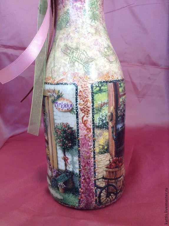 Бутылка-ваза для дачницы Татьяны