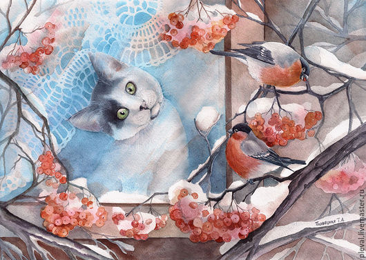 Животные ручной работы. Ярмарка Мастеров - ручная работа. Купить Картина акварелью - Кот Кеша и снегири за окном. Handmade.