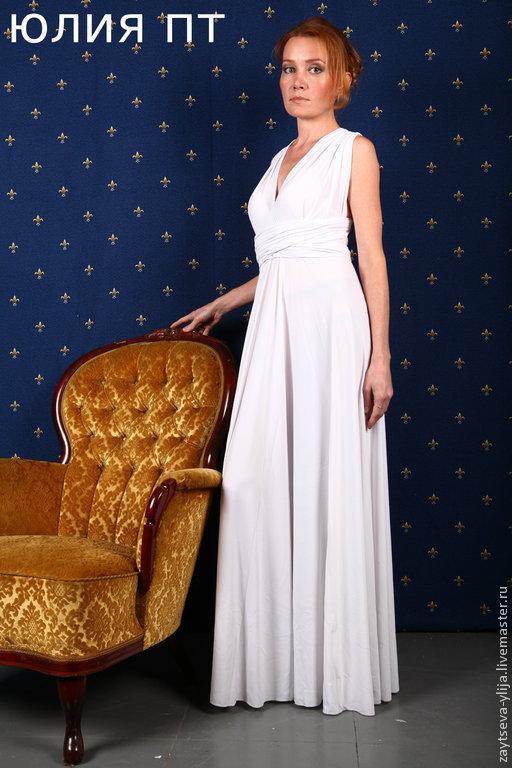 Платья ручной работы. Ярмарка Мастеров - ручная работа. Купить Белое великолепное платье. Handmade. Белый, для беременных, платье вечернее