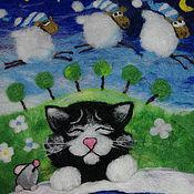 """Картины ручной работы. Ярмарка Мастеров - ручная работа Картина из шерсти """"Сладкий сон"""". Handmade."""