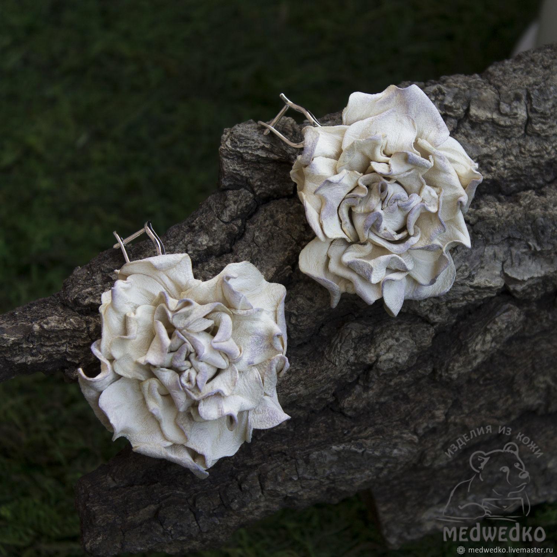 Earrings made of leather, the Fragrance of roses, Earrings, Vidnoye,  Фото №1