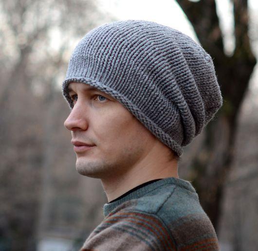 """Шапки ручной работы. Ярмарка Мастеров - ручная работа. Купить Вязаная мужская шапка-бини """"Туман"""". Handmade. Серый, мужчине"""