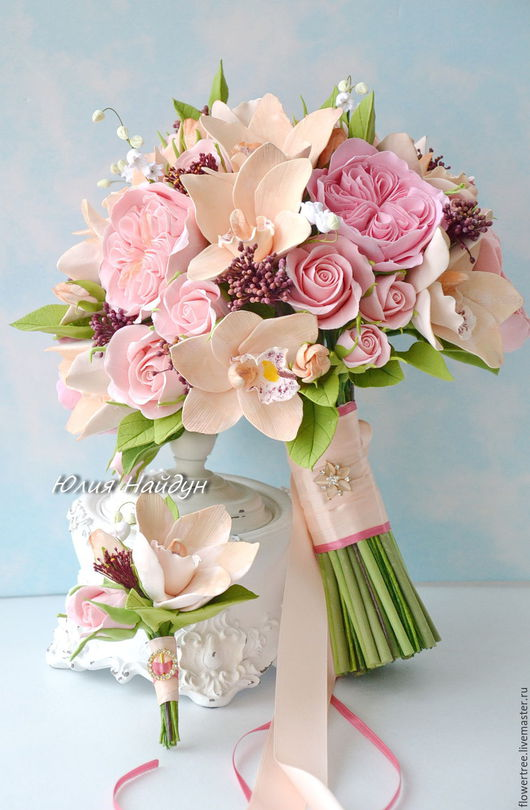 Букеты ручной работы. Ярмарка Мастеров - ручная работа. Купить Букет невесты с цветами из полимерной глины. Handmade. бежевые орхидеи