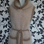Одежда ручной работы. Ярмарка Мастеров - ручная работа Жилет пуховый с капюшоном женский Персиковый. Handmade.
