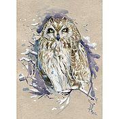 """Картины и панно ручной работы. Ярмарка Мастеров - ручная работа Принт """"Морозные травы"""" Болотная сова. Handmade."""