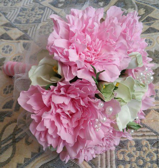 Свадебные цветы ручной работы. Ярмарка Мастеров - ручная работа. Купить Букет невесты. Handmade. Розовый, фоамиран, букет-дублер