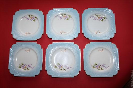 Винтажная посуда. Ярмарка Мастеров - ручная работа. Купить Тарелки Гарднер отличные 6 штук набором. Handmade. Тёмно-бирюзовый