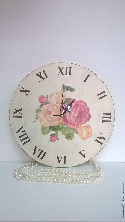 Часы для дома ручной работы. Ярмарка Мастеров - ручная работа. Купить Часы Розы винтажные. Handmade. Часы настенные