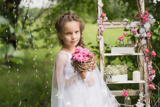 """Букеты ручной работы. Ярмарка Мастеров - ручная работа. Купить Букетик """"гнездо"""". Handmade. Розовый, букет из роз, венок из цветов"""