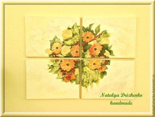 """Картины цветов ручной работы. Ярмарка Мастеров - ручная работа. Купить Модульная картина """"Цветочное панно"""". Handmade. Желтый, цветы"""
