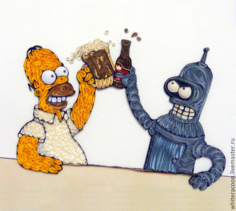 Quilling Homer Simpson And Bender Shop Online On Livemaster With