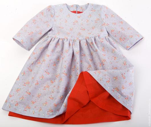 Одежда для девочек, ручной работы. Ярмарка Мастеров - ручная работа. Купить Платье нарядное Цветочное небо. Handmade. Голубой