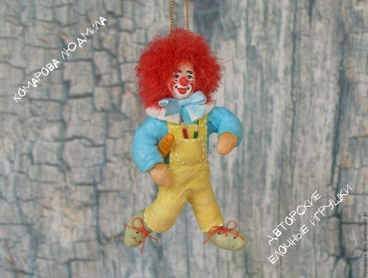 Авторская елочная игрушка из ваты `Клоун Рыжик`. Комарова Людмила. Ярмарка мастеров
