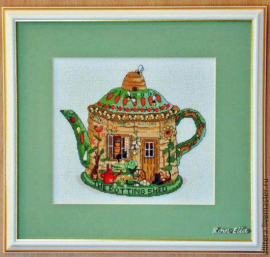 """Натюрморт ручной работы. Ярмарка Мастеров - ручная работа. Купить Вышитая картина """"Чайник зеленый"""". Handmade. Мятный, картина"""