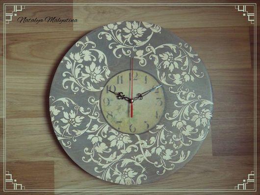"""Часы для дома ручной работы. Ярмарка Мастеров - ручная работа. Купить Часы настенные """"Рельефные цветы"""". Handmade. Декупаж"""