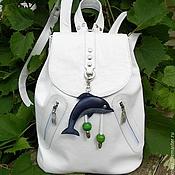 """Сумки и аксессуары ручной работы. Ярмарка Мастеров - ручная работа """"Белый манящий"""" рюкзак кожаный. Handmade."""