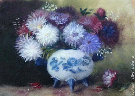 """Картины цветов ручной работы. Ярмарка Мастеров - ручная работа. Купить Картина шерстью """"Астры"""". Handmade. Комбинированный, астры натюрморт"""