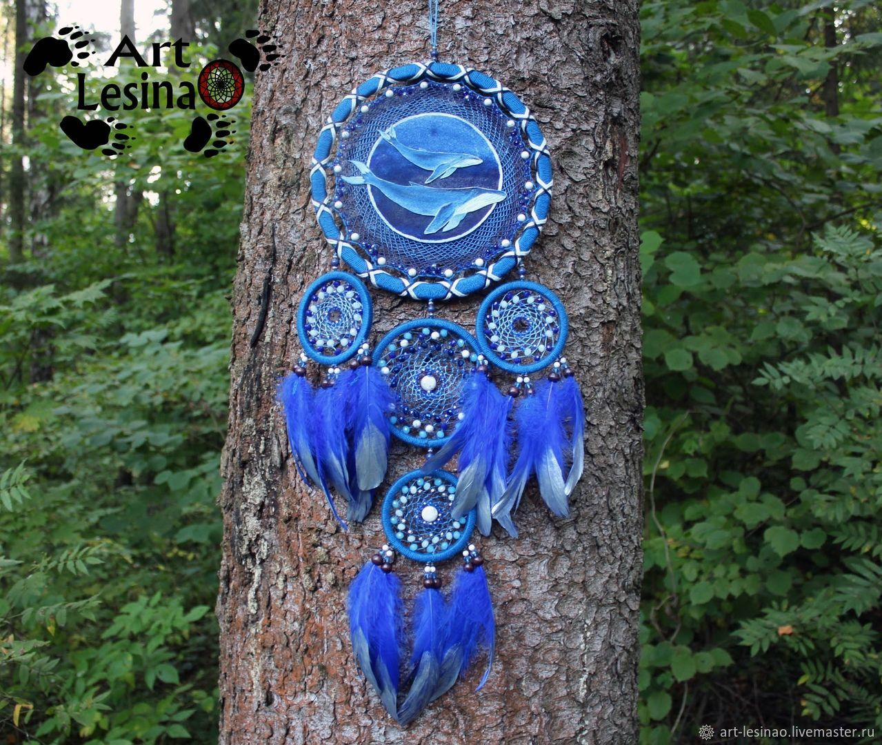 Dreamcatcher 'totem whale' with caholong, 70 cm, Amulet, Moscow,  Фото №1