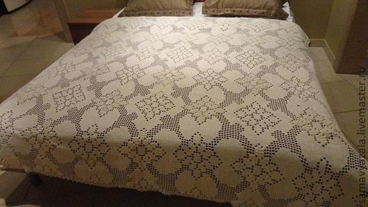 Текстиль, ковры ручной работы. Ярмарка Мастеров - ручная работа. Купить Очень красивый плед!  Ванильные цветы. Handmade. Белый