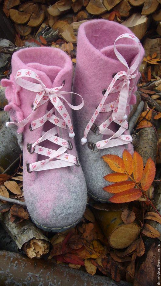 """Обувь ручной работы. Ярмарка Мастеров - ручная работа. Купить валенки """"Розовые""""-2. Handmade. Розовый, валенки с рисунком"""
