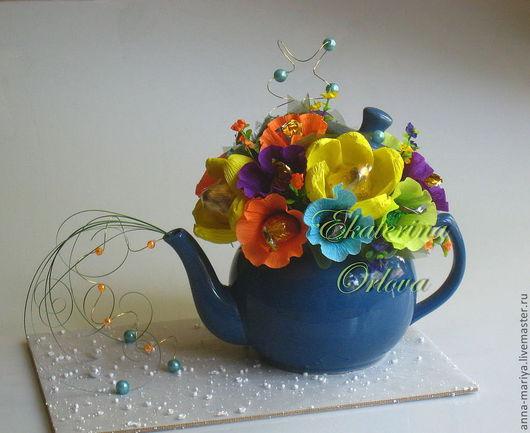 Кулинарные сувениры ручной работы. Ярмарка Мастеров - ручная работа. Купить К чаю... (букет из конфет). Handmade. Синий, на стол