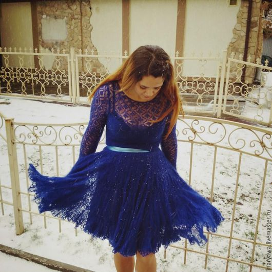 """Платья ручной работы. Ярмарка Мастеров - ручная работа. Купить Платье """"Сапфир"""". Handmade. Синий, платье вечернее, кид-мохер"""