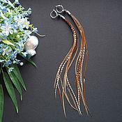 Украшения ручной работы. Ярмарка Мастеров - ручная работа Скандинавия - коричневые длинные серьги с перьями в стиле бохо. Handmade.