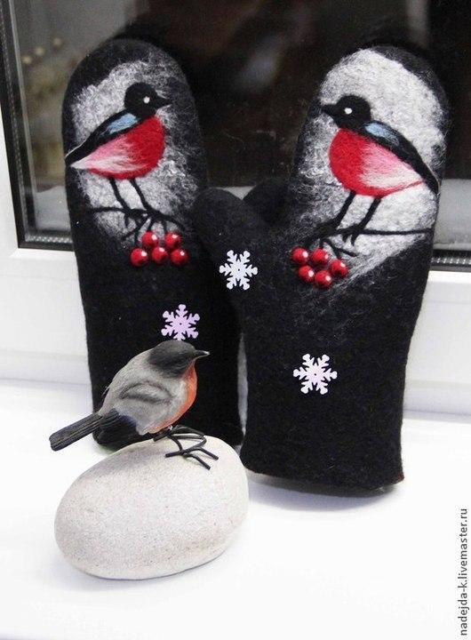 """Варежки, митенки, перчатки ручной работы. Ярмарка Мастеров - ручная работа. Купить Варежки валяные """"Зимние птицы"""". Handmade. Черный"""