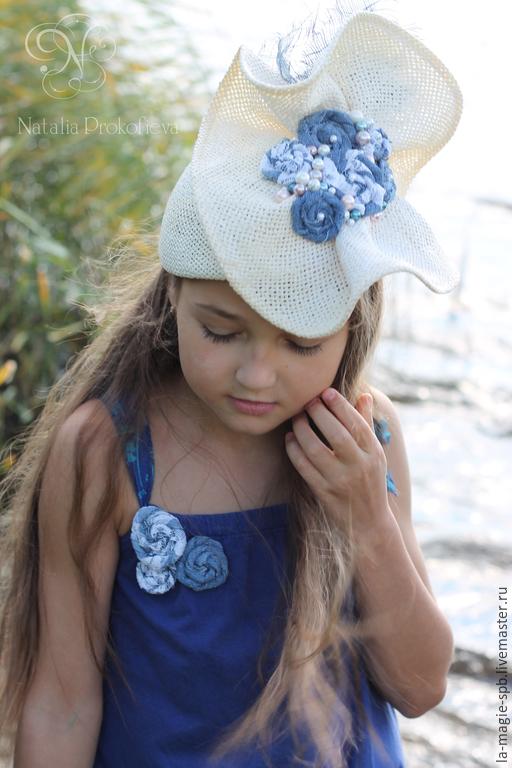 """Шляпы ручной работы. Ярмарка Мастеров - ручная работа. Купить Коктейльная шляпка """"Les Roses en Denim"""" (Джинсовые розочки). Handmade."""