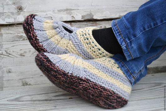 """Обувь ручной работы. Ярмарка Мастеров - ручная работа. Купить Следки мужские """"Любимому"""". Handmade. Хаки, носки теплые, следочки"""