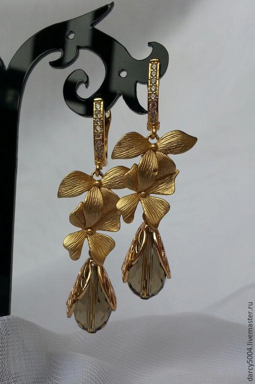 Серьги ручной работы. Ярмарка Мастеров - ручная работа. Купить серьги. Handmade. Серьги с камнями, подарок подруге, золотой, цирконы