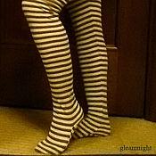 Аксессуары ручной работы. Ярмарка Мастеров - ручная работа Полосатые чулочки цвета какао с молоком. Handmade.