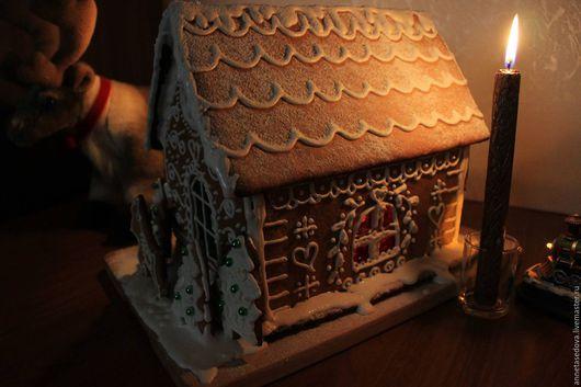 Кулинарные сувениры ручной работы. Ярмарка Мастеров - ручная работа. Купить Пряничный домик. Handmade. Коричневый, глазурь, зима, гвоздика