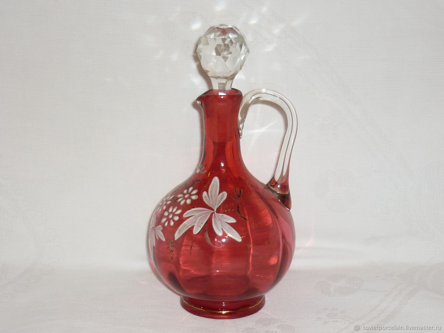 decanter. Vintage CRANBERRY glass. Hand painted!, Vintage interior, St. Petersburg,  Фото №1