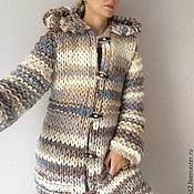 Одежда ручной работы. Ярмарка Мастеров - ручная работа Пальто вязаное бежевый мультиколор. Handmade.