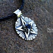 Фен-шуй и эзотерика handmade. Livemaster - original item A silver pentagram with a black garnet. Handmade.