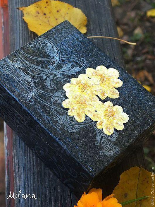 шкатулка декупаж, черная шкатулка, шкатулка с желтыми цветами, шкатулка в подарок, шкатулка на память, шкатулка для мелочей, женская шкатулка, оригинальная шкатулка,