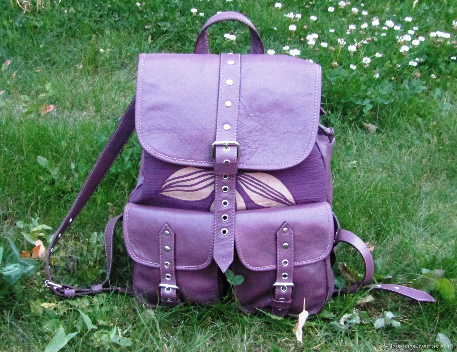 Fantasy backpack made of genuine leather and plum colored textiles, Backpacks, Izhevsk,  Фото №1