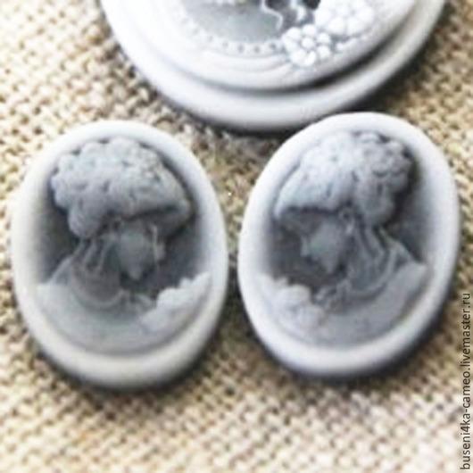 Для украшений ручной работы. Ярмарка Мастеров - ручная работа. Купить Камеи 2шт (зеркальная пара) Дама-2, 10х14мм (пластик). Handmade.