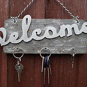 """Для дома и интерьера ручной работы. Ярмарка Мастеров - ручная работа Табличка-вывеска-ключница на дверь """"Вэлком"""". Handmade."""